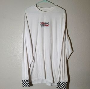 Vans embroidered long sleeve checkered sleeve